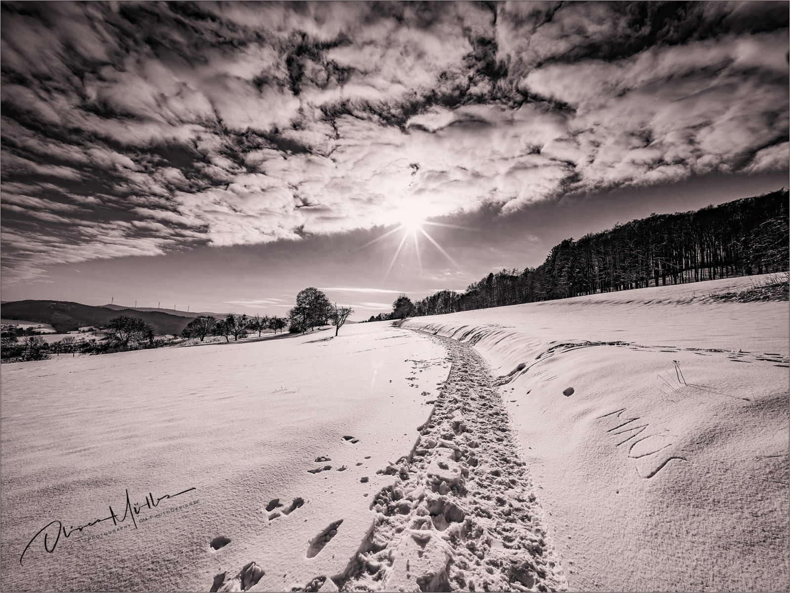 Snowy way to the sun